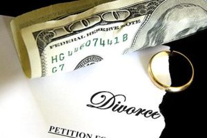 Picture of $100 bill and Divorce Petition